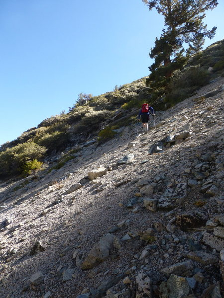 The steep talus field on the approach