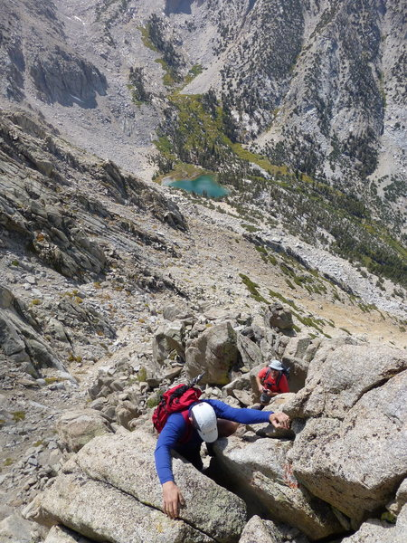 Downclimbing the West Rib on the descent from Independence Peak
