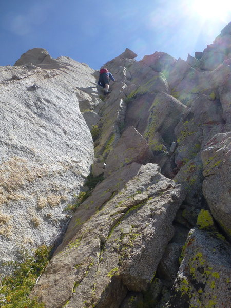 A short section of low-fifth class climbing below the summit ridge on Independence Peak
