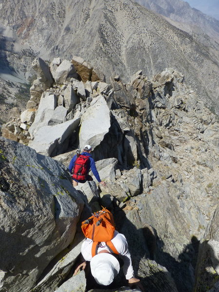 Rock Climbing Photo: Starting to descend the North Ridge of Independenc...