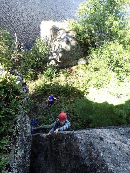 Rock Climbing Photo: Angie leading Nasubi.