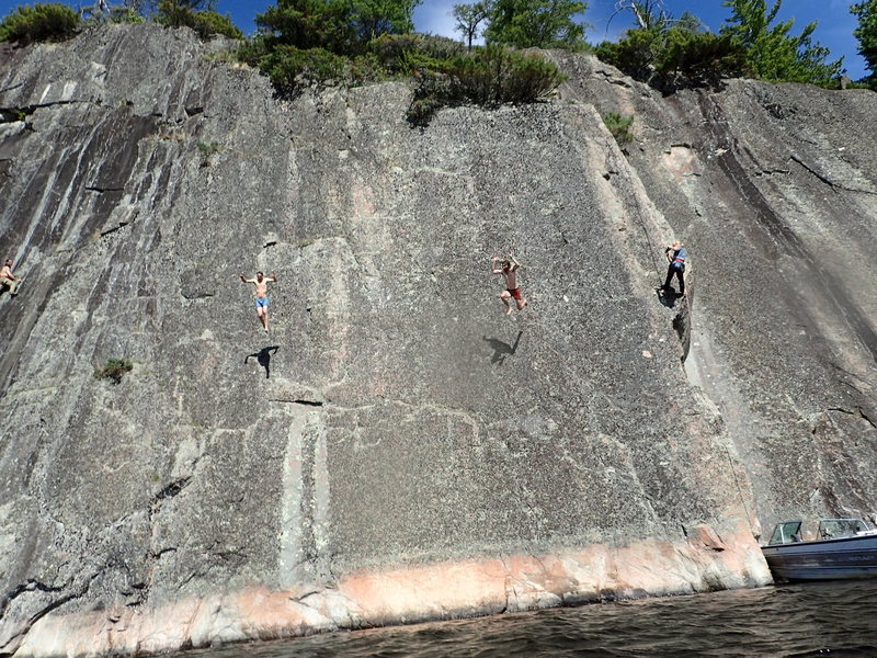 Deep water soloing on the Emerald Wall.