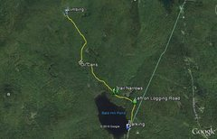 Rock Climbing Photo: Map of approach trail.  Locations are approximate ...