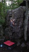 Rock Climbing Photo: Getting up into it. This problem is surprisingly q...
