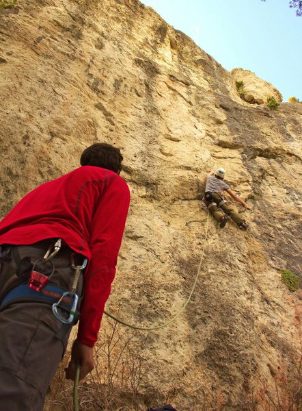 Climbing &quot;when the time comes&quot;<br> <br> Photographer Lincoln, Belayer Mike, Climber myself.