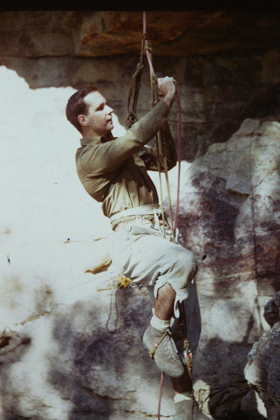 A young Ed Nester prussicking at the Uberfall at the &quot@SEMICOLON@Gunks&quot@SEMICOLON@.  Note &quot@SEMICOLON@klettershue&quot@SEMICOLON@ climbing shoes and Goldline rope