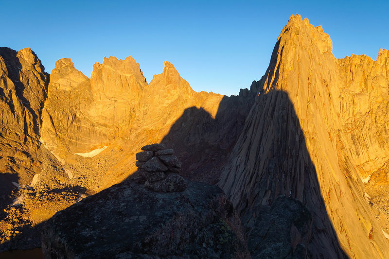 Rock Climbing Photo: Pingora casts a shadow on the Cirque.  This was ta...