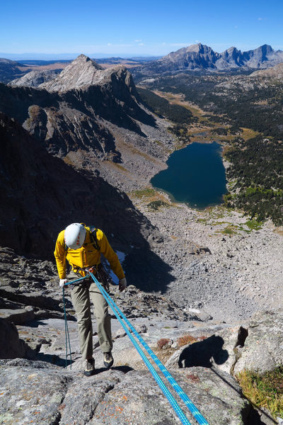 Descending Wolf's Head.  Shadow Lake in the distance.