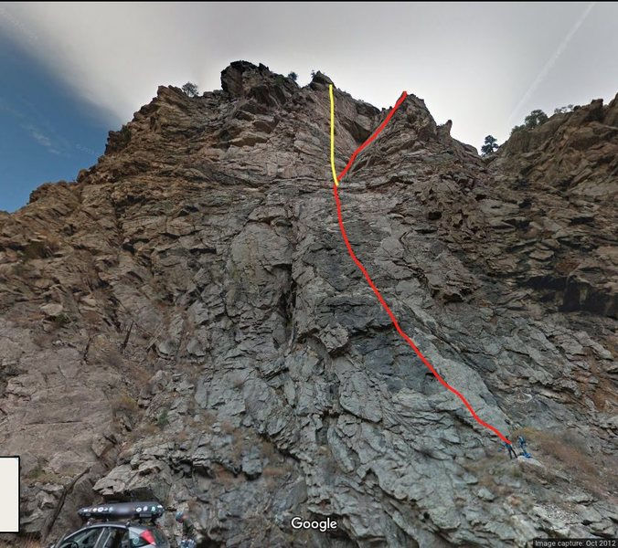 Red:Solid Gold start to Playin' Hooky.<br> Yellow: Solid Gold.<br> <br> <em>Eds.</em> The red line deviates at the black roof on P2 from Solid Gold onto Furlough Day. Solid Gold's P2 is on the lighter gray rock to the right of the red line on P2.