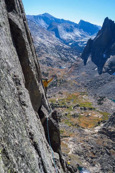 The final hand traverse on the E Ridge