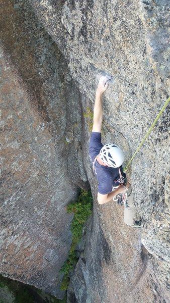 Rock Climbing Photo: Critical Crimps, Black Arches Wall, Adirondacks