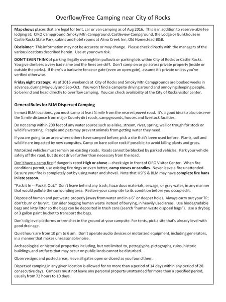 Beta Info on Camping at City of Rocks and Castle Rocks including 'free' climbing on nearby BLM and Forest Service land. This info is provided by CRAG (Climbing Resource Advisory Group) which is a coalition of climbing coalitions formed to advocate and advise Castle Rocks and City of Rocks park officials on climbing related matters at both parks.