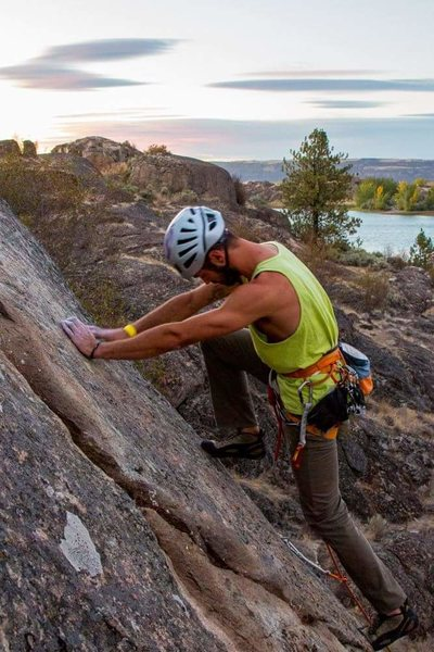 First ascent at sunset. Photo by Jess Brown.
