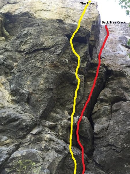 The Prow follows the line up the arête before traversing left onto the face above while Back Tree Crack follows the obvious crack system on the right.