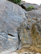 Rock Climbing Photo: Looking up the route from the base. In order to li...