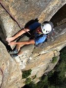 Rock Climbing Photo: Pitch 3. Ryan on the 5.7 layback at the top of Pit...