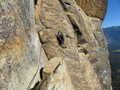 Rock Climbing Photo: Pitch 5. Ryan at the beginning of the traverse. Th...