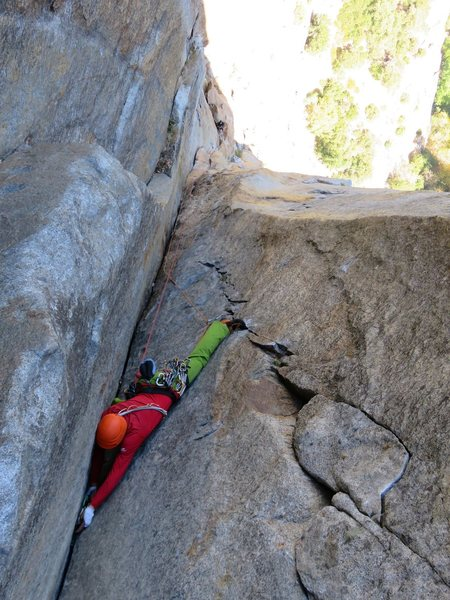Rock Climbing Photo: Pitches 6-8. A climber nearing the top of the firs...