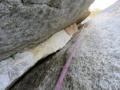 Rock Climbing Photo: Pitch 7. The narrowing 5.9 squeeze. The crux was e...