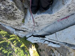 Rock Climbing Photo: Pitch 10. Looking down from midway up the pitch. T...