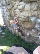 Rock Climbing Photo: April traversing the North face of the East Boulde...
