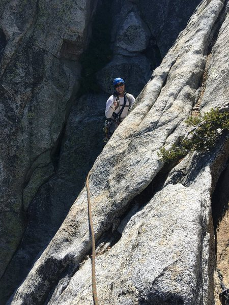 Top of pitch two before traversing to the anchor.