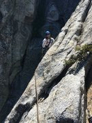 Rock Climbing Photo: Top of pitch two before traversing to the anchor.