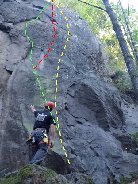 Emotional Rescue from bottom.  Follow rope (yellow topo) for direct line but multiple variations seemingly exist (red and green topos are options we took) which makes for some really fun laps