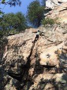 "Myles climbing ""Mike's Crack."""
