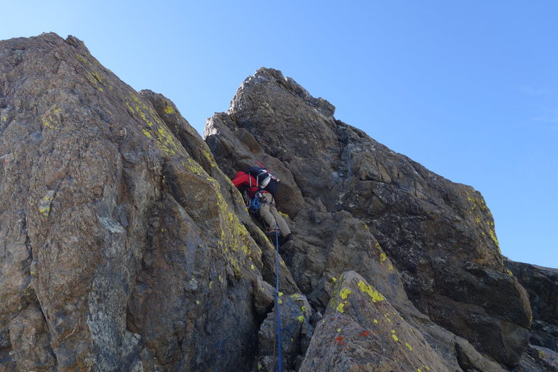 Rock Climbing Photo: Vik approaching the top with the only 5.7ish move.