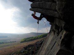 Rock Climbing Photo: Flying Buttress Direct, Stanage (E1 5b)