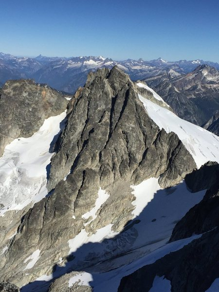 The East Ridge climbs the right hand ridge line of the Dorado Needle.