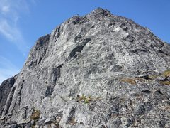 Rock Climbing Photo: Route follows cracks on the left side of the ridge...