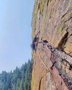 Rock Climbing Photo: Climbing crux pitch of Rewritten