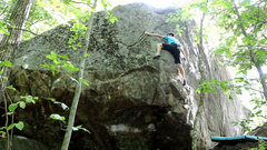 Rock Climbing Photo: Very committing topout moves. Falling from here is...