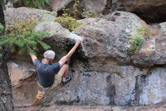 Rock Climbing Photo: The start is on the chalked holds to the left. The...