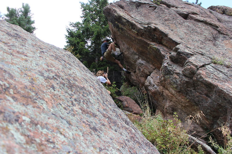 Rock Climbing Photo: Moving up the white part of the crack, thin but go...