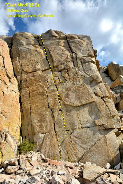 "Rock Climbing Photo: ""Gold Mind"" (5.9) at sunset"