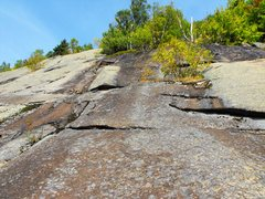 Rock Climbing Photo: Looking up from my starting point, there is a moss...