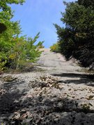 Rock Climbing Photo: The base area, the rock has a crumbly green lichen...
