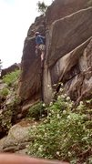 Rock Climbing Photo: Clint Casey leads the possible first ascent of Lic...
