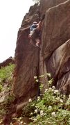 Rock Climbing Photo: Clint Casey turns the lip of the overhang on Liche...
