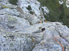 Rock Climbing Photo: Jake Bingham on the top of Pitch 1