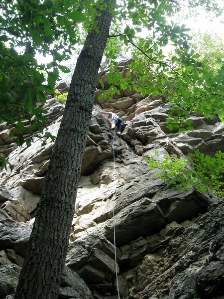 Rock Climbing Photo: climber on route in far right corner where the pat...