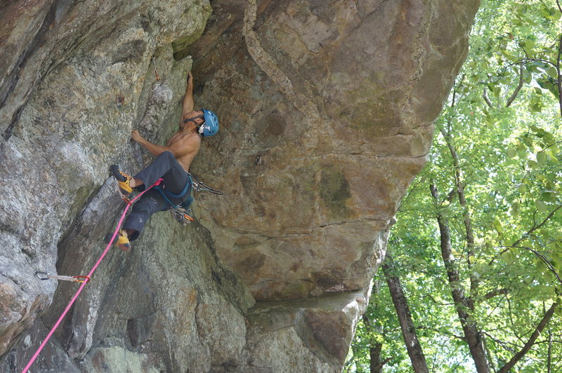 Rock Climbing Photo: My beta for the crux. Didn't stick it in this ...
