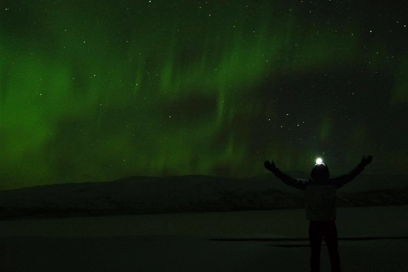 Experiencing the northern light in Kiruna, Sweden inside the artic circle