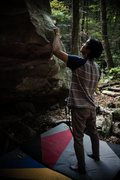 Rock Climbing Photo: Cleaning the sloper on Inglorious