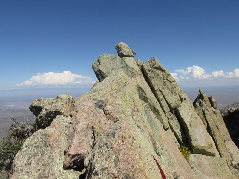 Summit of Lost Peak. Sling for the rappel to the south shown near the bottom.