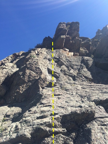 First buttress, east around from the gully to descend - right of Flash Dihedral and Wandering Jew.