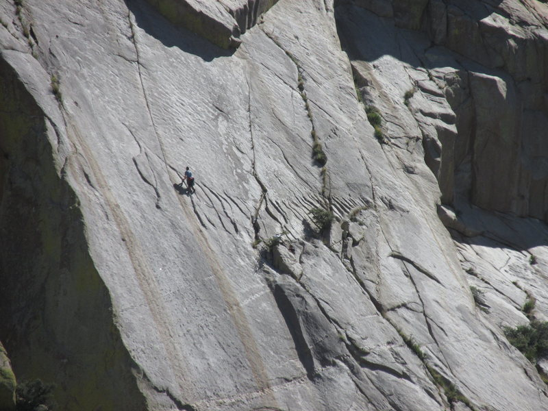 Ian leading the crux pitch of the Tooth Fairy.